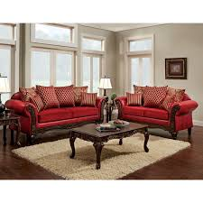 Red Sofas In Living Room Furniture Of America Cardinal Formal 2 Piece Traditional Red Sofa