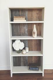 rustic reclaimed wood bookshelf makeover laminate shelving