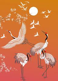 all japanese cranes theme pack stencil henny donovan motif