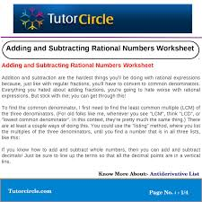 adding and subtracting rational numbers worksheets adding and subtracting rational numbers worksheet by tutorcircle