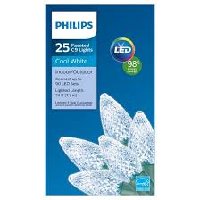 philips 25ct led c9 faceted string lights cool white target