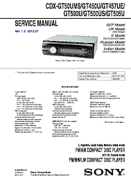 sony cdx gt500 cdx gt500ee cdx gt50w cdx gt550 service manual