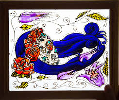 profile sugar skull blue hair floral headdress luskini