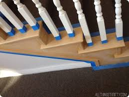 Dark Wood Banister How To Stain An Ugly Oak Banister Dark All Things Thrifty