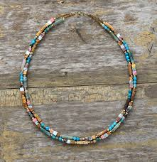 collar necklace beads images Women choker semi precious stone seed beads choker necklace unique jpg