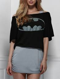 stylish scoop neck short sleeve printed batman faux twinset for