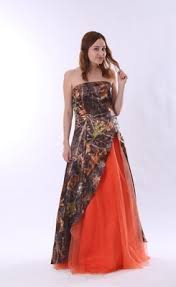 best colorful strapless split front orange and camo wedding dress