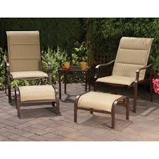 Patio Chair And Ottoman Set Mainstays Padded Sling 5 Piece Outdoor Leisure Set Dune Seats 2