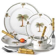 i this set palm tree decor 20pc bahama palm tree dinnerware