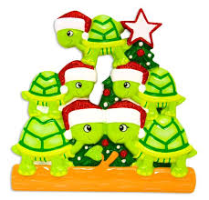 or1608 5 turtle family of 5 personalized ornament