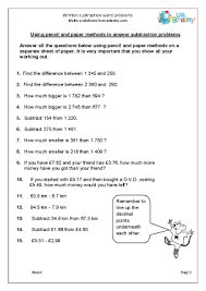 subtraction word problems written subtraction word problems