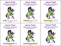 words cards word thief card complete set read naturally inc