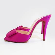 christian louboutin satin bow slip on sandal heel u2013 garderobe
