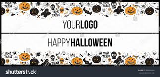 halloween long horizontal banner top bottom stock vector 488963665