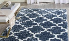 rugs 10x14 montreal trellis shag blue polyester area rugs for