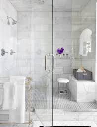 mark williams design home pinterest white marble bathrooms master bath shower with rainhead and marble subway tile contemporary or transitional glass enclosure walk in shower with bench make sure the glass doesn t