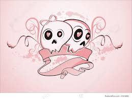 halloween background pink girly skulls illustration