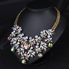 bib necklace flower images Elegant luxury women chunky chain colorful crystal flower bib jpg