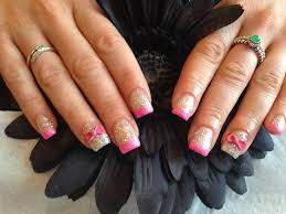 acrylic nails with gelish glitter pink glitter tips 3d acrylic