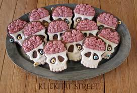 Decorated Halloween Sugar Cookies by Brainy Skull Cookies Tutorial Klickitat Street