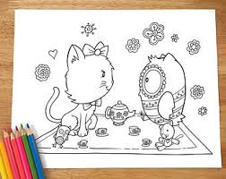 kitten coloring etsy