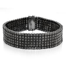 black bracelet diamond images Mens 6 row black diamond bracelet 1 35ct sterling silver jpg