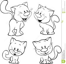 cute cat black outline illustration on white stock vector image