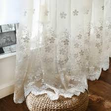 Sheer Embroidered Curtains Fashion Solid Color Transparent Flower Lace Embroidered Screens