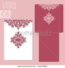 wedding wishes envelope laser cut wedding invitation card template stock vector 543170689