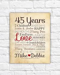 40 year anniversary gift ideas anniversary gift for parents 45 year anniversary 45th year of