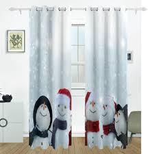 snowmen winter christmas curtain drapes panels darkening blackout