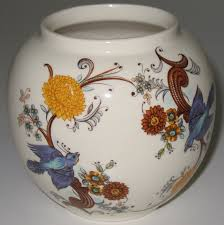 Ginger Jar Vase Round Sadler Ginger Jar Vase Blue Birds Flowers No Lid What U0027s