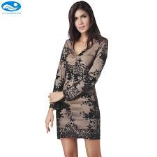 black mesh dress long sleeve summer dress 2017 women pencil dress