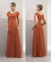 modest bridesmaid dresses burnt orange chiffon 2017 modest bridesmaid dresses with