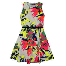 girls skater dress kids neon tropical print summer party dresses