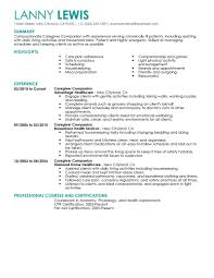 Resume Template For Caregiver Position Best Caregivers Companions Resume Exle Livecareer