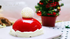 how to make a santa hat mirror glaze entremet christmas