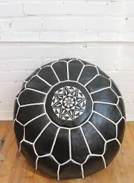 Leather Moroccan Ottoman by Black Leather Pouf Moroccan Leather Pouff White Embroidery