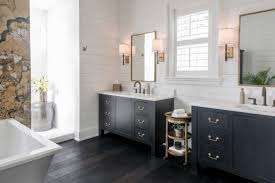 bathroom gray bathroom with marble wall also black white floor