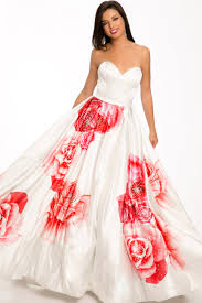 floral print white red strapless prom dress prom dress guide