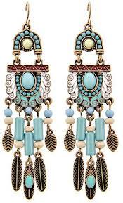blue chandelier earrings western theme feather chandelier earring set light blue