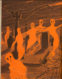 ghosts on parade illustration from vintage halloween book