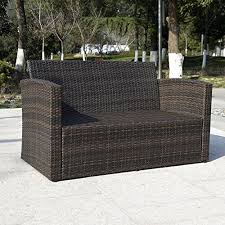 wicker outdoor sofa giantex 4 pcs cushioned wicker patio sofa furniture set garden