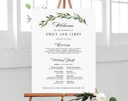 wedding program sizes wedding program sign etsy