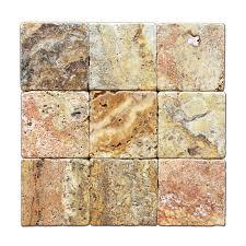 scabos travertine 4 x 4 tile tumbled 4 pcs sample set marble