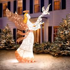 lighted angel christmas decoration ombre mesh angel with dove lighted outdoor christmas decoration