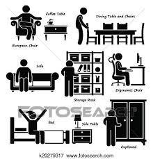 pictogramme chambre clipart chambre maison meubles icônes k20279317 recherchez des