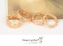 korean wedding rings handmade gold color four combination simple design alloy korean