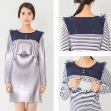 nursing clothes maternity clothes nursing dress autumn winter striped sleeve