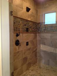 custom tile shower with slate accent hjm projects pinterest